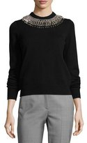 Michael Kors Ribbed Cashmere Sweater with Safety Pin Necklace, Black