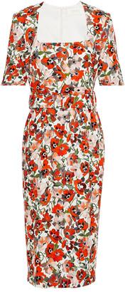 Goat Kylie Belted Floral-print Stretch-crepe Midi Dress
