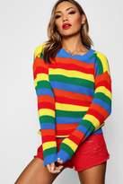 boohoo Lola Rainbow Knitted Stripe Jumper