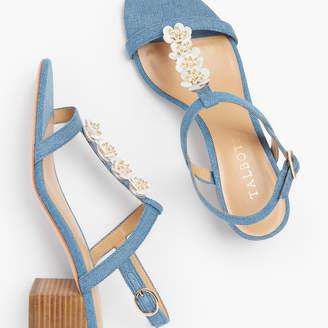 Talbots Mimi Flower-Embellished Block Heel Sandals - Denim