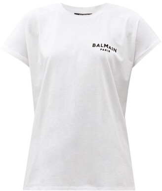 Balmain Flocked-logo Cotton-jersey T-shirt - White Black