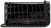 Balenciaga BB Embossed Croc Phone Holder Chain Bag in Black | FWRD