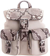 Michael Kors Natural Snake-Embossed-Accent Susie Leather Backpack