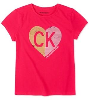 Calvin Klein Big Girls Cotton Flip-Sequin Heart T-Shirt