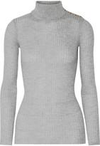 Balmain Ribbed Wool Turtleneck Sweater - Light gray