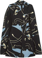 Valentino Panther Cape-effect Printed Silk-cady Mini Dress - Gray