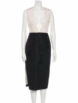 Prabal Gurung Lace Pattern Midi Length Dress White
