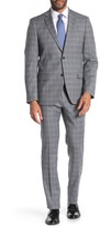 Tommy Hilfiger Grey Blue Plaid Two Button Notch Lapel Slim Fit Suit