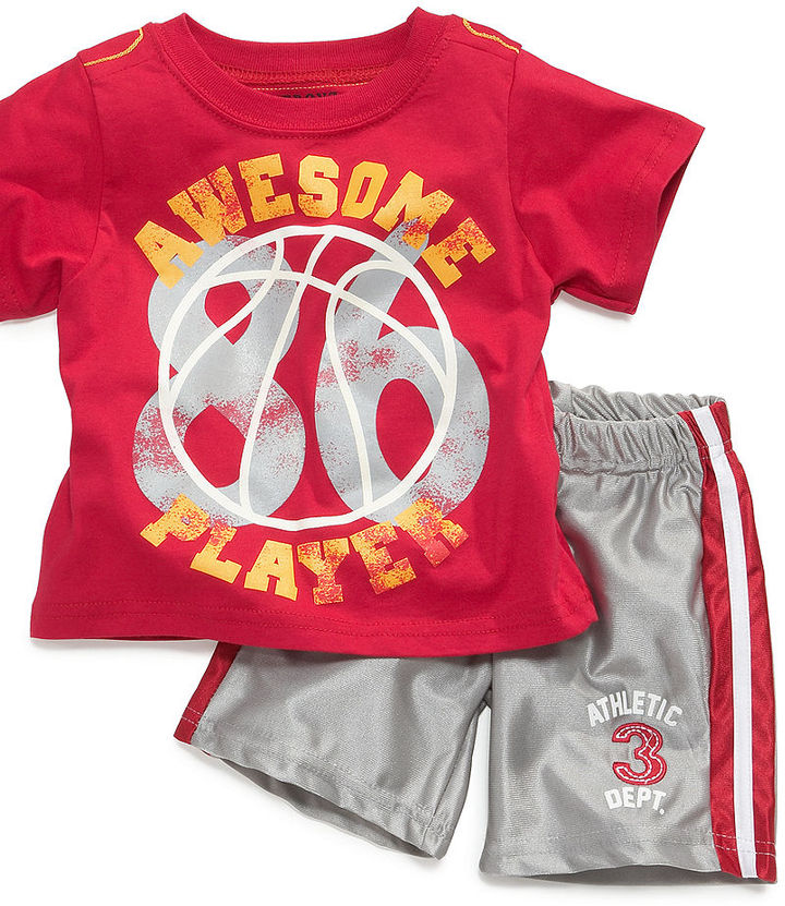 Nannette Baby Set, Baby Boys 2-Piece Glow in the Dark Tee and Shorts