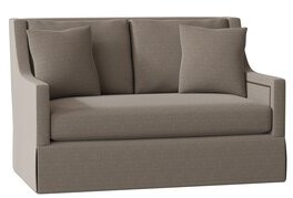 "Gabby Helena 57.5"" Square Arm Loveseat Body Fabric: Avignon Charcoal, Cushion Fill: Spring Down, Nailhead Detail: Antique Brass"