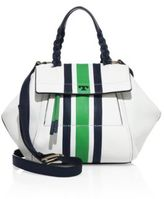 Tory Burch Half-Moon Small Stripe Leather Satchel