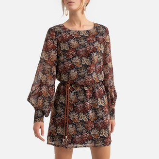 Molly Bracken Floral Print Mini Dress with Belt and Balloon Sleeves