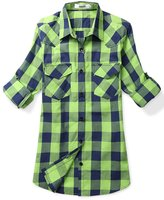 OCHENTA Women's Mid Long Style Roll Up Sleeve Plaid Shirt Green Blue Size M