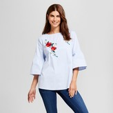 Como Black Women's Embroidered Peasant Sleeve Blouse