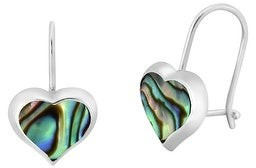Aeravida Handmade Adorable Ocean Hearts Abalone Shell and Sterling Silver Ear Wire Earrings