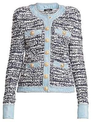 Balmain Women's Tweed & Denim Jacket