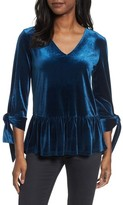 Halogen Women's Tie Sleeve Velvet Top