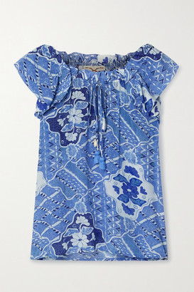 Figue Gianna Printed Crepe De Chine Top - Blue