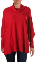 Alfani Womens Turtleneck Long Sleeves Poncho Sweater Red M