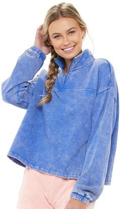 So Juniors' 1/4-Zip Crop Fleece Sweatshirt