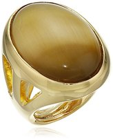 Kenneth Jay Lane Polished Gold Open Sides Flawed Tiger Eye Center Ring