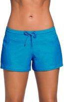 SheShy Women Swimsuit Tankini Sport Side Spit Pus Size Bottom Board Shorts (, Acid Bue)