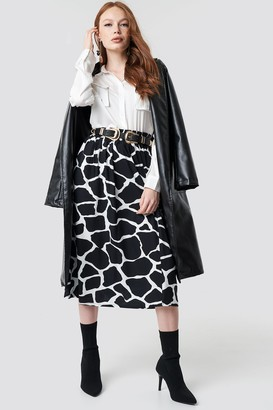 NA-KD Giraffe Print Midi Skirt Black