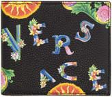 Versace Black Floral Logo Bifold Wallet