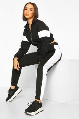 boohoo Zip Through Cropped Colour Block Tracksuit