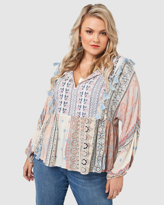 The Poetic Gypsy - Women's Blue Shirts & Blouses - Heart Of Gold Tassle Blouse - Size One Size, 10 at The Iconic