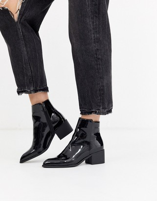 Glamorous chunky ankle boots in patent