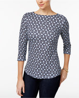Charter Club Button-Shoulder Iconic-Print Top, Only at Macy's