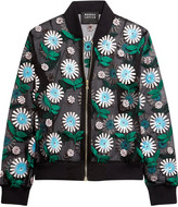 Markus Lupfer Ditsy Daisy embroidered silk-organza bomber jacket