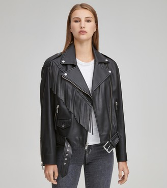 Andrew Marc   Final Sale Zariah Fringe Moto Jacket