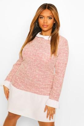 boohoo Plus Boucle Contrast Collar Cuff Shift Dress