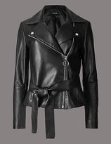 Autograph Leather Biker Jacket with Belt