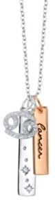 Unwritten Cubic Zirconia Constellation Cancer Zodiac Pendant Necklace with Two-Tone Silver Plated Charms on Sterling Silver Chain, 18""