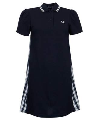 Fred Perry Authentics Gingham Panel Pique Dress Colour: NAVY, Size: 6