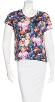 Sandro Floral Print Short Sleeve Top