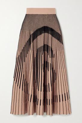 MM6 MAISON MARGIELA Ribbed Intarsia Cotton-blend Midi Skirt - Beige