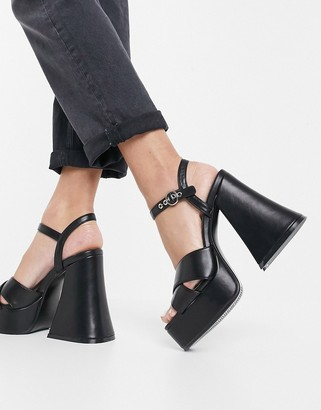 Lamoda flared heel platform sandals in black