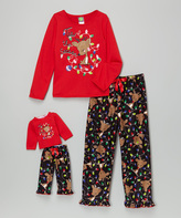 Dollie & Me Red 'Tis the Season' Pajama Set & Doll Outfit - Girls