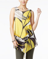 Alfani Printed Mixed-Media Tunic Top, Only at Macy's