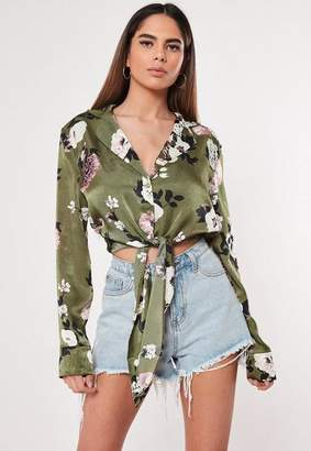Missguided Green Floral Print Tie Front Blouse