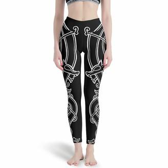 LPLoveYogaShop Women's Leggings Black Nordic Viking Dragon Knot Mythology Graphic Soft Thin Pants Sports Gaiters for Hiking - White - M