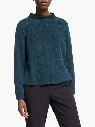Eileen Fisher Funnel Neck Box Top, Blue Spruce