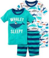 Carter's 4-Pc. Whale-Print Cotton Pajama Set, Baby Boys