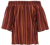 Ace&Jig Marisol Striped Off-the-shoulder Cotton Top - Womens - Burgundy Multi