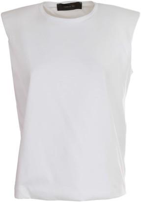 FEDERICA TOSI Crew Neck Wide Shoulder Sleeveless T-shirt