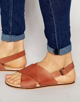 Asos Sandals in Tan Leather With Cross Over Strap